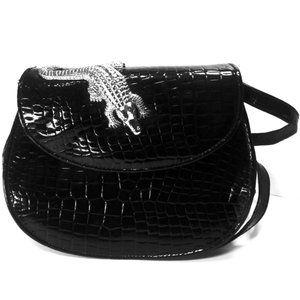Vintage Faux Alligator Bag Purse Silver Alligator
